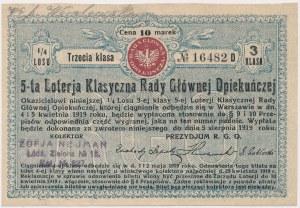 5-ta Loteria Rady Głównej Opiekuńczej, 1/4 losu 3 Kl.