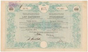 Lwów, Galicyjski ziemski Bank kredytowy, List zastawny 1.000 kr 1912