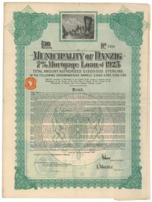 Gdańsk, Municipality of Danzig, Obligacja 500 funtów 1925