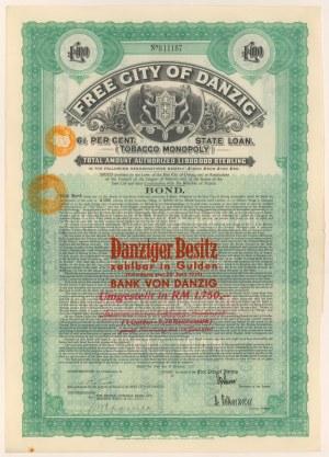Gdańsk, Tobacco Monopoly, 100 funtów 1927