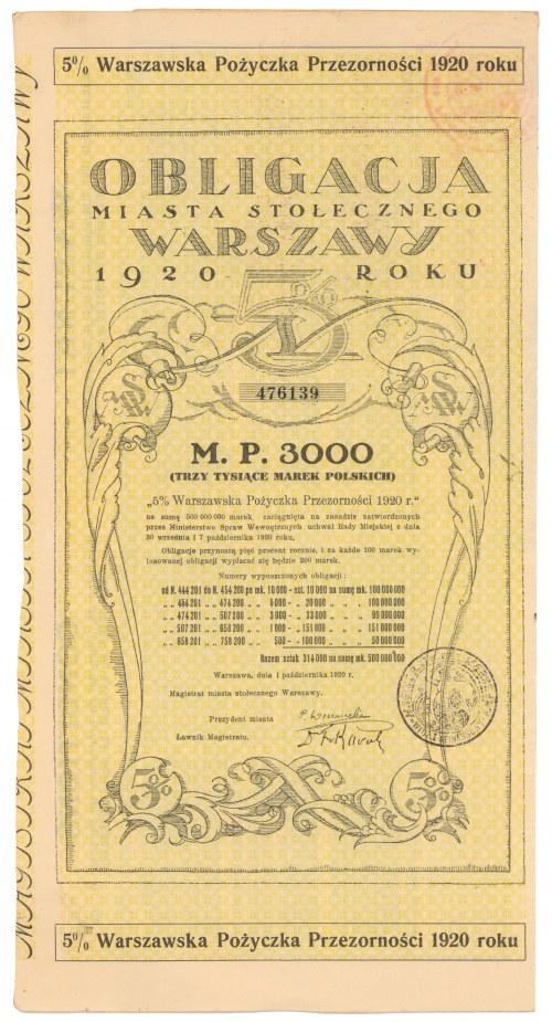 Warszawa Poż. Przezorności Obligacja na 3.000 mkp 1920