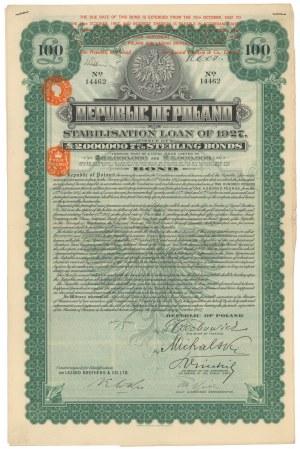 7% Pożyczka Stabilizacyjna 1927, Obligacja 100 funtów