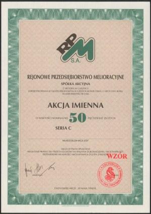 Akcja, Rejonowe Przedsiębiorstwo Melioracyjne, WZÓR 50 zł 1998