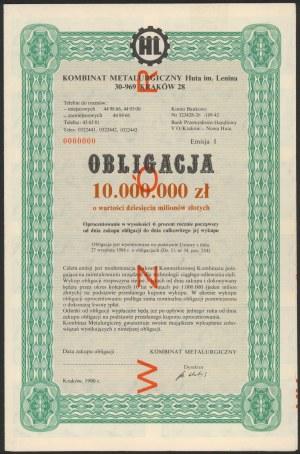 Obligacja, Kombinat Matalurgiczny Huta im. Lenina, WZÓR 10 mln zł 1990