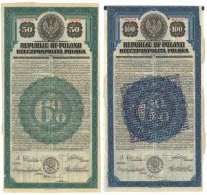 6% Pożyczka Dolarowa 1920 Obligacje 50 i 100$ (2szt)