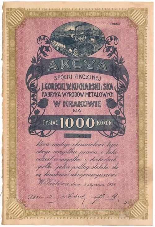J. Gorecki, W. Kucharski i S-ka, Em.2, 1.000 mkp 1921