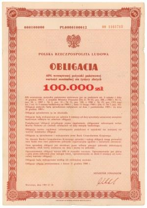 60% Wewnętrzna Pożyczka Państwowa 1989, Obligacja na 100.000 zł