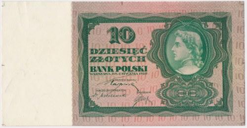 10 złotych 1928 - próba kolorystyczna - zielony