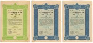 Lwów Poż. Konwersyjna Król. Stoł. m. 1930 r. Obligacje 30, 75 i 155 zł (3szt)