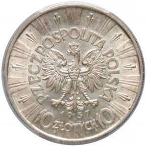 Piłsudski 10 złotych 1937 - PCGS MS62