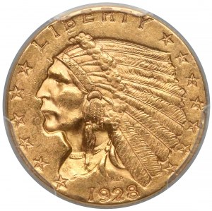 USA, 2-1/2 dolara 1928 - Indian Head - PCGS MS62
