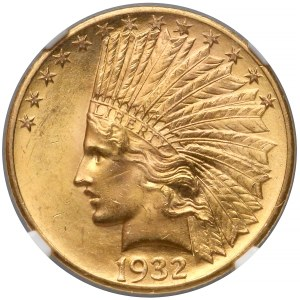 USA, 10 dolarów 1932 - Indian Head - NGC MS63+