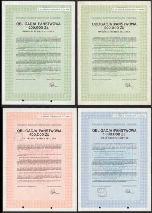 Obligacja Państwowa 1989 r. od 200 tys do 1 mln zł - zestaw (4szt)