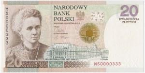 20 złotych 2011 Maria Skłodowska - niski numer - MS 0000333