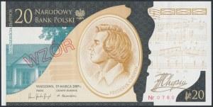 WZÓR 20 złotych 2009 - FC 0000000 - Fryderyk Chopin