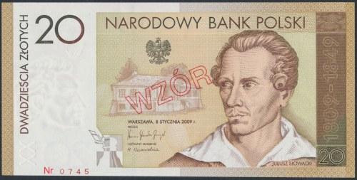 WZÓR 20 złotych 2009 - JS 0000000 - Juliusz Słowacki