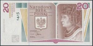 20 złotych 2015 Jan Długosz - niski numer - JD 0000300