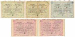 Warszawa VIII-ma Poż. Konwersyjna, Obligacje 1930 r. - zestaw (5szt)