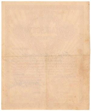 5% Poż. Krótkoterm. 1920, Świadectwo tymczasowe 1.400 mkp - wypisywane