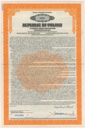 7% Pożyczka Stabilizacyjna 1927, Talon do Obligacji na $100, SPECIMEN