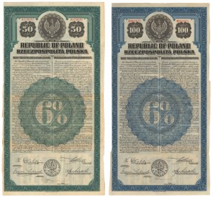 6% Poż. Dolarowa 1920, Obligacje $50 i $100 - bez konwersji (2szt)