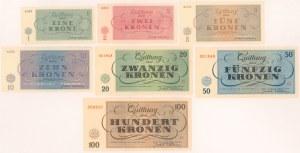 Czechy, Terezin GETTO komplet 1-100 kronen 1943 (7)
