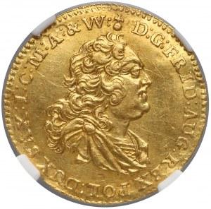 August III Sas, Dukat Drezno 1745 FWóF - NGC UNC