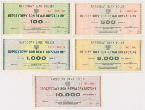 DRUKI PRÓBNE Depozytowy Bon Rewaloryzacyjny 100-10.000 zł (5szt)