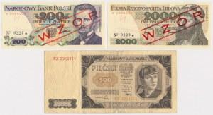 500 zł 1948 BZ i wzory banknotów 200 zł, 2.000 zł 1976-77 (3)
