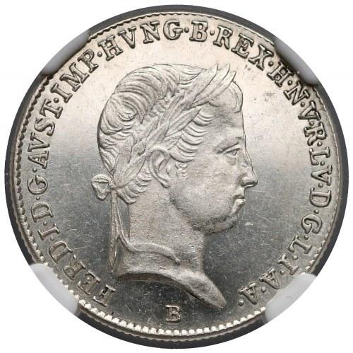 Węgry, Ferdynand I, 10 krajcarów 1846-B - Proof Like - NGC MS63 PL