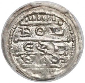 Bolesław IV Kędzierzawy, Denar - Cesarz - piękny - PCGS MS62