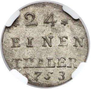 August III Sas, 1/24 talara Lipsk 1753 - BEZ liter - b. rzadka