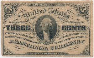 USA, Fractional Currency, 3 cents 1863