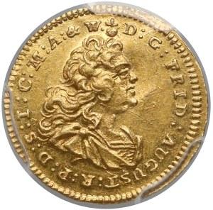 August III Sas, Ćwierćdukat Drezno 1743 FWóF - rzadki - PCGS AU58