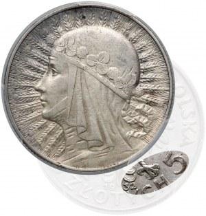 Głowa Kobiety 5 złotych 1932 zn, Warszawa - rzadkie - PCGS AU53