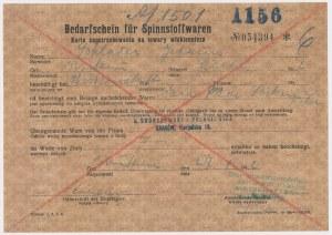 GG, Karta zapotrzebowania na towary włókiennicze, Kraków 1942