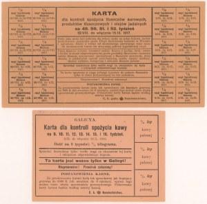 Galicja 1916-1917, Karta na kawę 1916 i tłuszcze i oleje jadalne 1917 (2szt)