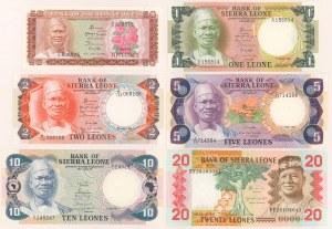 Sierra Leone, Zestaw od 50 cents do 20 leones 1980-1985 (6)