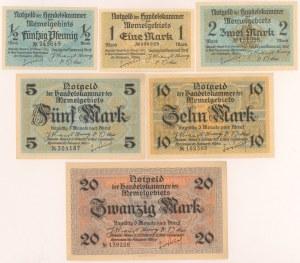 Memel (Kłajpeda), od 1/2 do 20 mk 1922 (6szt)
