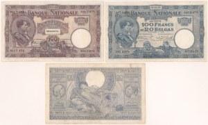 Belgia, 100 franków 1924-1942 zestaw (3)