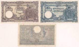 Belgia, 100 francs 1924-42 (3szt)