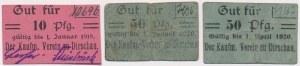 Dirschau (Tczew), 10 pfg i 2x 50 pfg 1918-1920 (3szt)