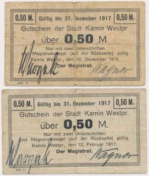 Kamin Westpr (Kamień Krajeński), 1/2 mk 1916 i 1917 (2szt)