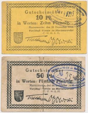 Marienwerder (Kwidzyn), 10 i 50 pfg 1916 (2szt)