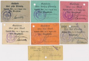 Neustadt Wpr. (Wejherowo), od 10 pfg do 3 mk 1914-1918 (7szt)