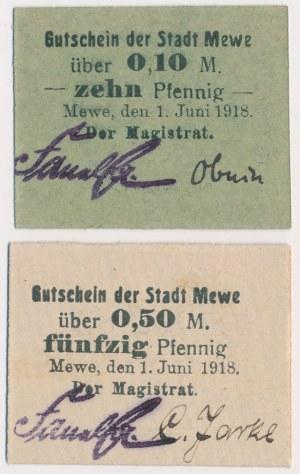 Mewe (Gniew), 10 i 50 pfg 06.1918 (2szt)