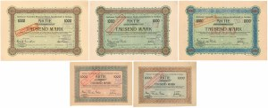 Gorkau, Gorkauer Societats-Brauerei..., 1.000 mk 1920-23 r. - zestaw (5szt)