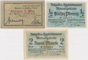 Memel (Kłajpeda), 2x 1/2 mk i 20 mk 1922 (3szt)