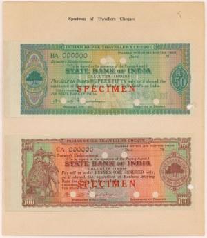 Indie, Kalkuta, Wzory czeków podróżnych 50 i 100 rupees (2)