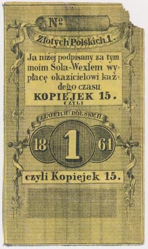 Radom / Warszawa, Sola weksel na 1 złoty = 15 kopiejek 1861